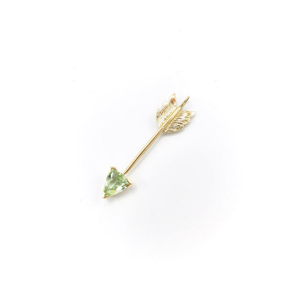 Signature 14K Gold Light Green Tourmaline Arrow Pendant Charm Pendant Kirsten's Corner Jewelry