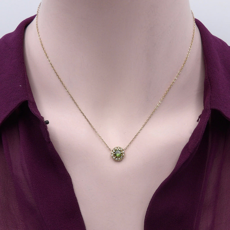 Victorian 9K Gold Peridot and Pearl Necklace Necklace Kirsten's Corner Jewelry