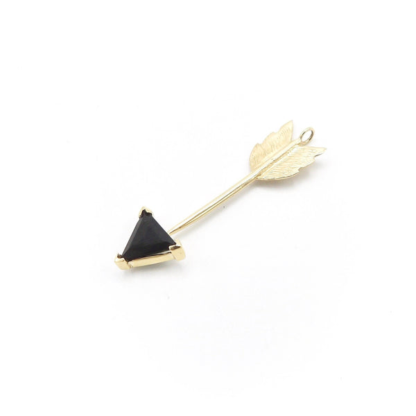 Signature 14K Gold Dark Green Tourmaline Gemstone Arrow Pendant - Kirsten's Corner Jewelry