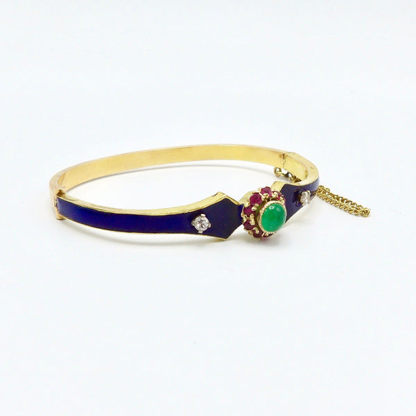Victorian 18K Gold, Emerald, Diamond, Ruby and Enamel Bangle Bracelet - Kirsten's Corner Jewelry