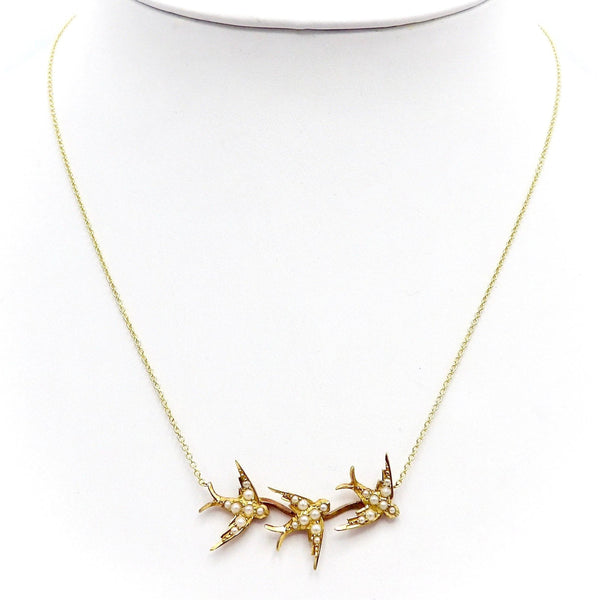 Signature 14K Yellow Gold Swallow Necklace Necklace Kirsten's Corner