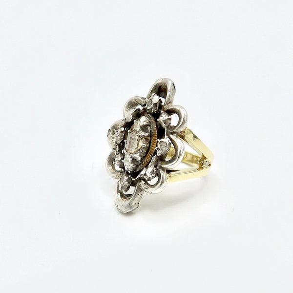 Georgian Era Sterling Silver & 14K Gold Signature Diamond Flower Ring - Kirsten's Corner Jewelry