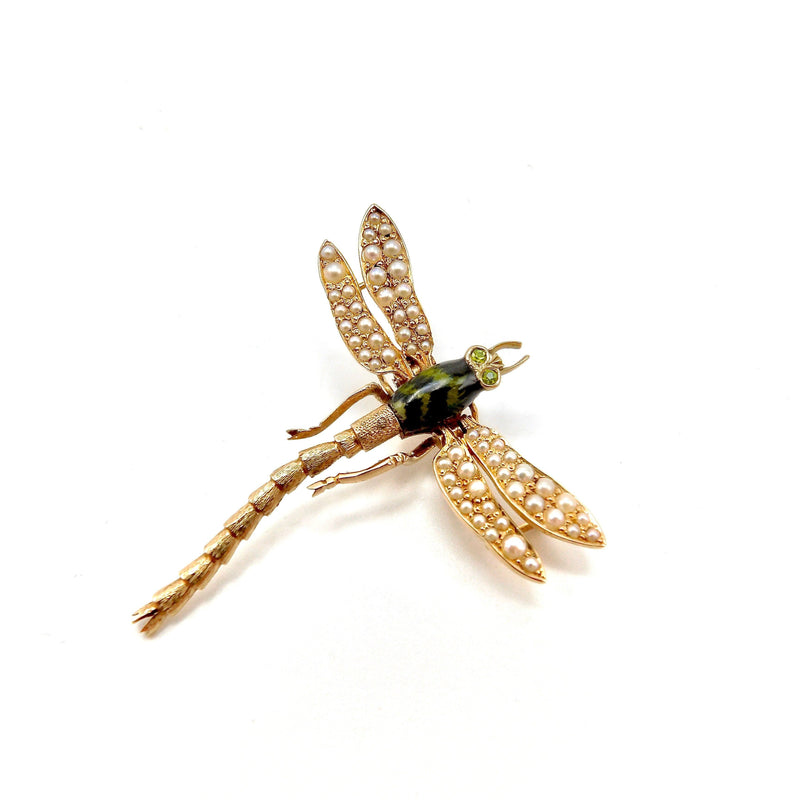 14K Gold Dragonfly Pendant with Garnet & Pearls Pendant Kirsten's Corner