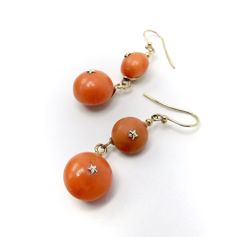 18K Gold French Coral Ball Dangle Earrings Kirsten's Corner