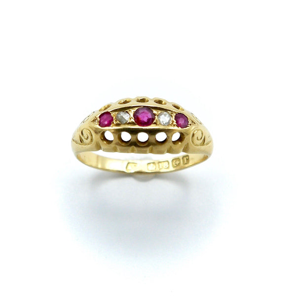 EDWARDIAN 18K GOLD RUBY AND DIAMOND FIVE STONE RING Ring Kirsten's Corner Jewelry