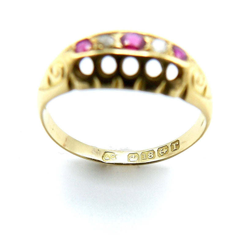 EDWARDIAN 18K GOLD RUBY AND DIAMOND FIVE STONE RING - Kirsten's Corner Jewelry