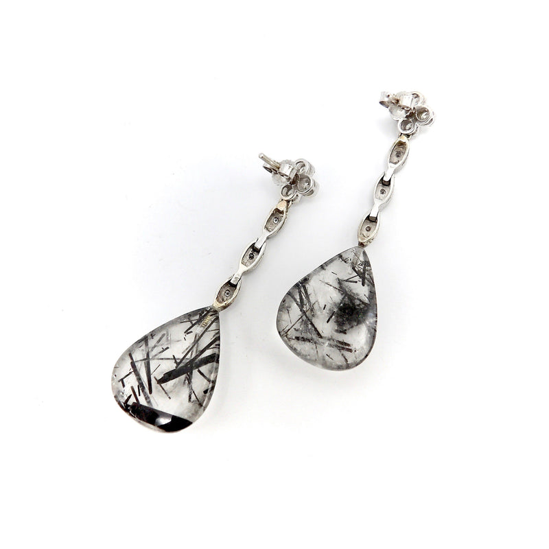 14 K White Gold, Rutilated Quartz, and Diamond Dangle Earrings Earrings Kirsten's Corner