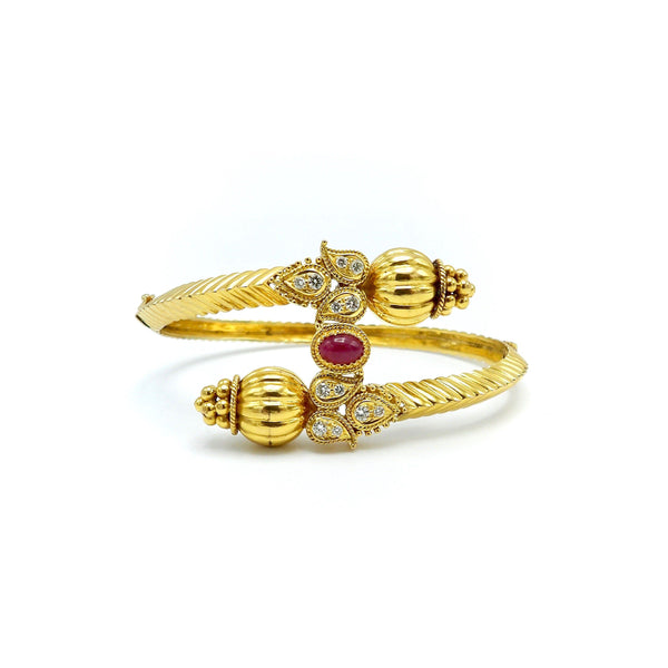 18K Indian Gold Bypass Bangle Bracelet with Diamonds and a Ruby - Kirsten's Corner Jewelry