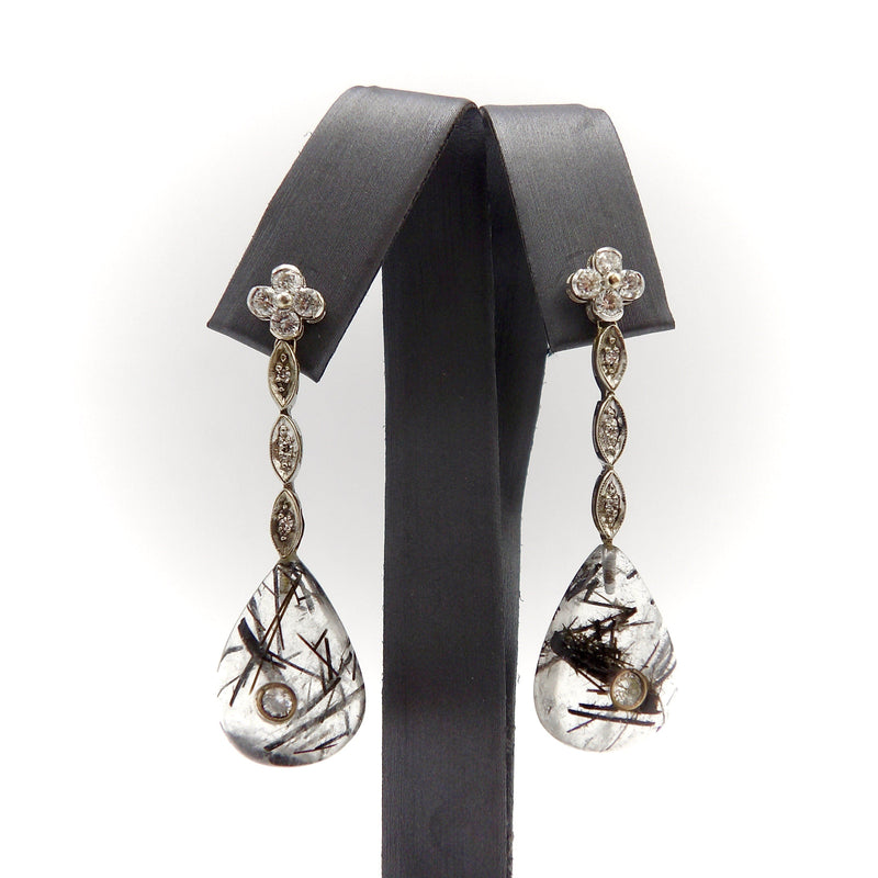 14K White Gold, Rutilated Quartz, and Diamond Dangle Earrings Earrings Kirsten's Corner