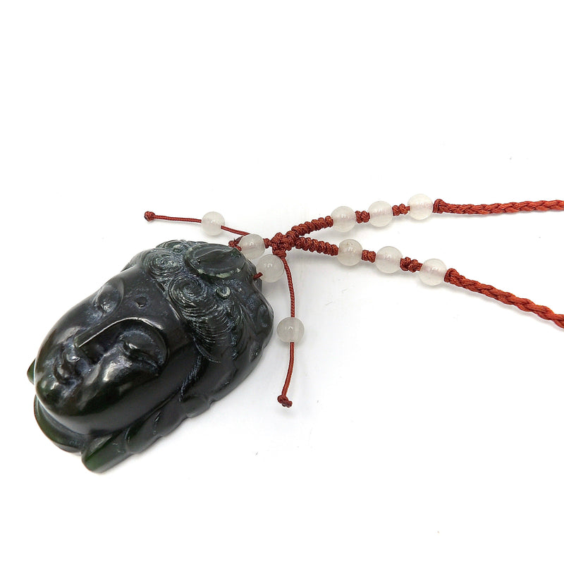 Nephrite Jade Buddha Head Pendant on Silk Cord with Jade Beads Necklace Kirsten's Corner