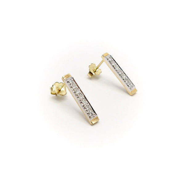 14K Gold Diamond Bar Signature Design Earrings - Kirsten's Corner Jewelry