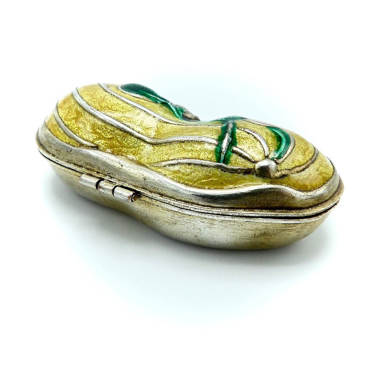 Art Nouveau Sterling Silver and Gold Gilt Peanut Pill Box with Enamel Box Kirsten's Corner