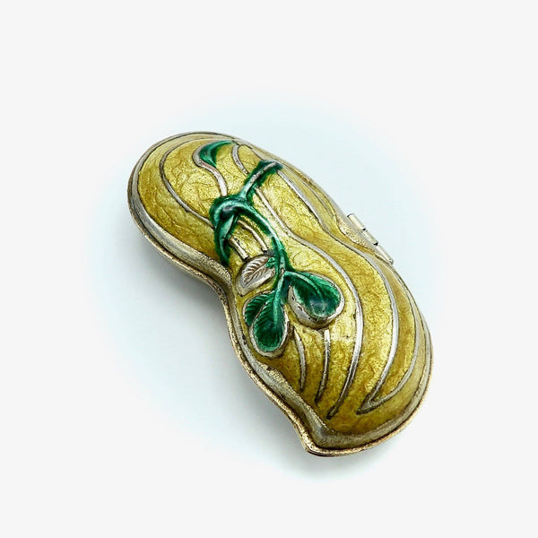 Art Nouveau Sterling Silver and Gold Gilt Peanut Pill Box with Enamel - Kirsten's Corner Jewelry