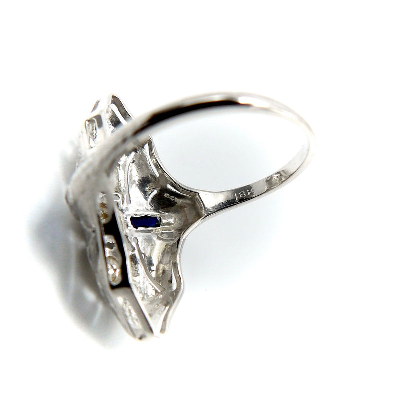 18K Gold Art Deco Diamond and Sapphire Heart Ring Ring Kirsten's Corner Jewelry