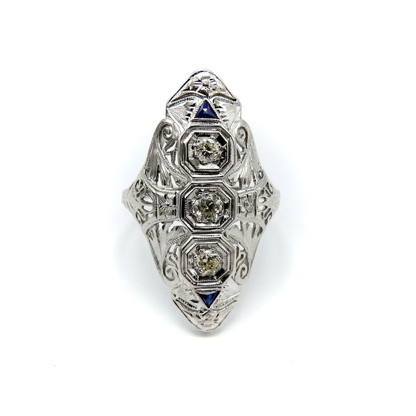 Art Deco 18K White Gold Diamond and Sapphire Ring - Kirsten's Corner Jewelry