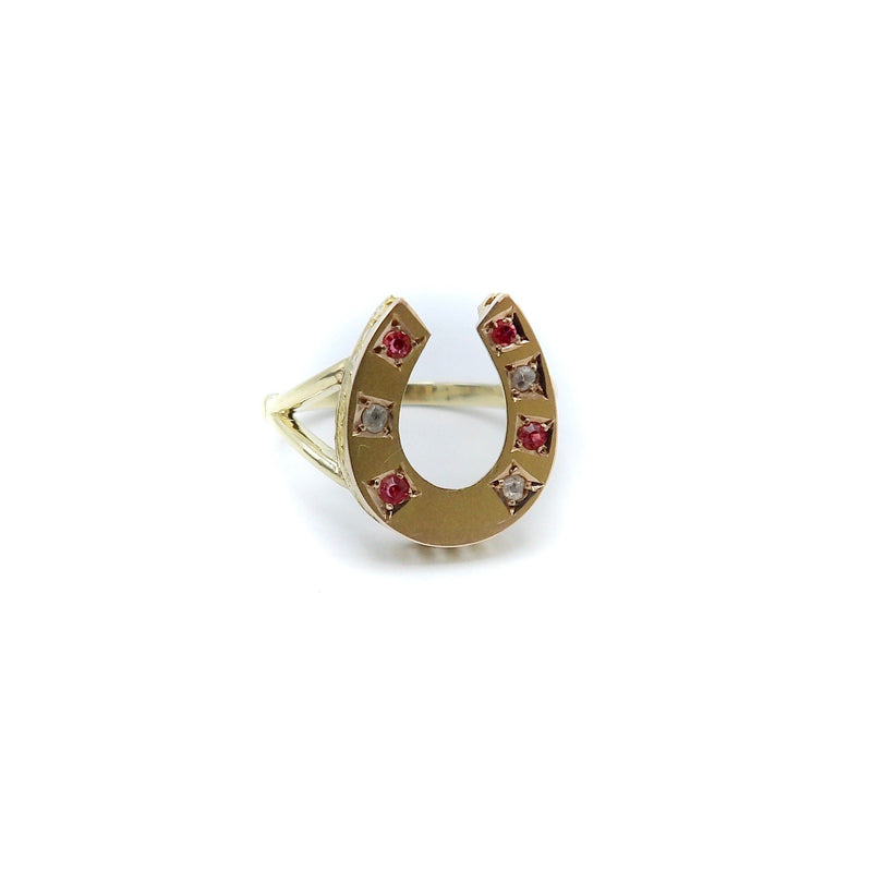 Lucky Victorian 7 Gemstone Sapphire and Ruby Horseshoe Ring Ring Kirsten's Corner Jewelry
