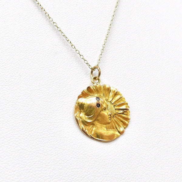 Art Nouveau 18K Gold Young Flower Girl Medallion Charm Kirsten's Corner