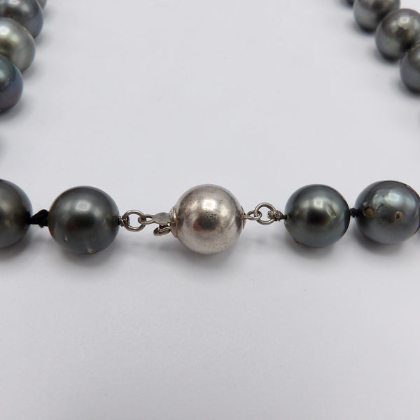 Single Strand of Large Tahitian South Sea Cultured Pearls with Sterling Silver Clasp - Kirsten's Corner Jewelry