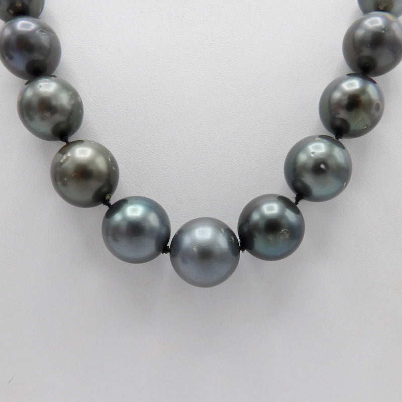 Single Strand of Large Tahitian South Sea Cultured Pearls with Sterling Silver Clasp Necklace Kirsten's Corner Jewelry