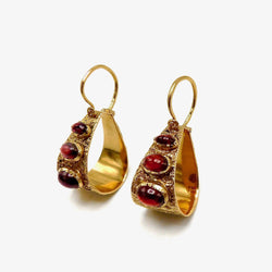 19.2K Gold Portuguese Garnet Hoop Earrings Earrings Kirsten's Corner