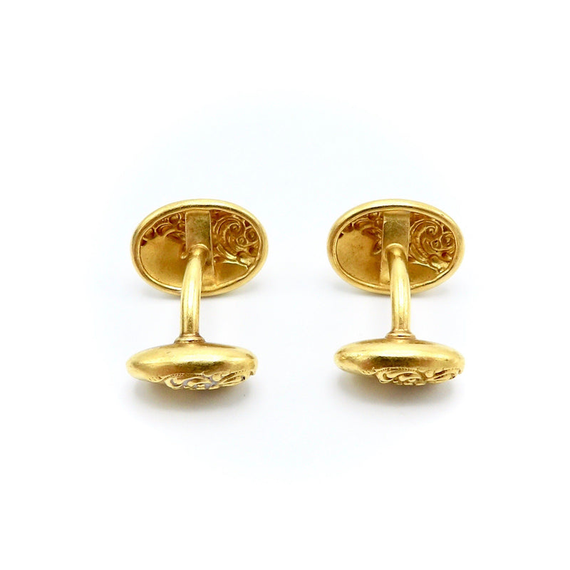 14K Gold Oval Victorian Cufflinks with Floral Repousse - Kirsten's Corner Jewelry