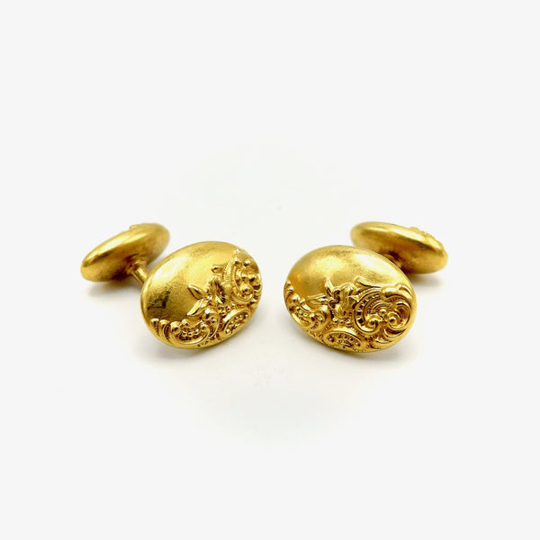14K Gold Oval Victorian Cufflinks with Floral Repousse Cufflinks Kirsten's Corner Jewelry