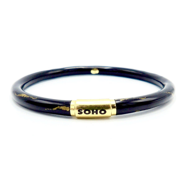 SOHO 18K Gold Black Enamel Calligraphic Stripe Bangle Bracelet Bracelet Kirsten's Corner Jewelry