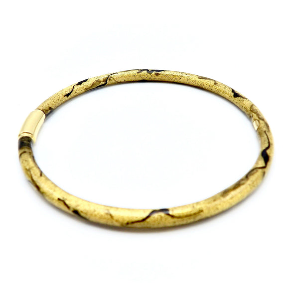 SOHO 18K Gold Enamel Golden Calligraphic Stripe Bangle Bracelet Bracelet Kirsten's Corner Jewelry