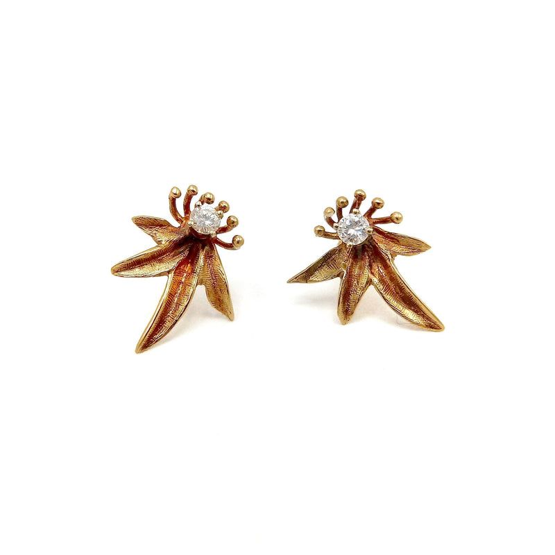 14K Yellow Gold Floral Diamond Earrings Earrings Kirsten's Corner