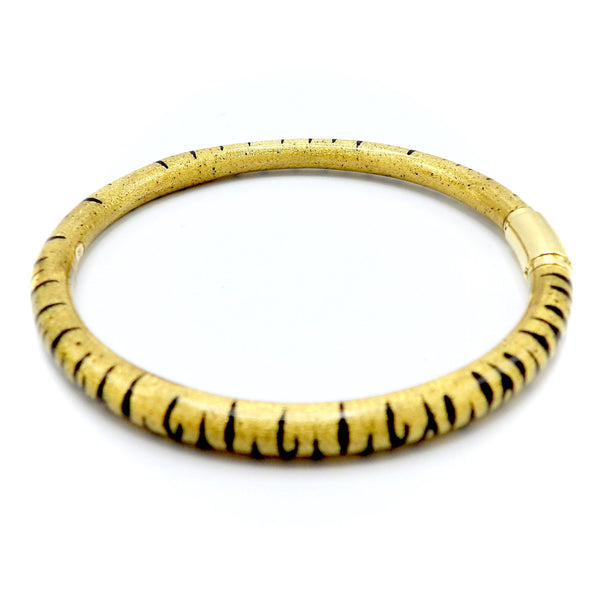 SOHO 18K Gold Enamel Tiger Stripe Bangle Bracelet Bracelet Kirsten's Corner Jewelry