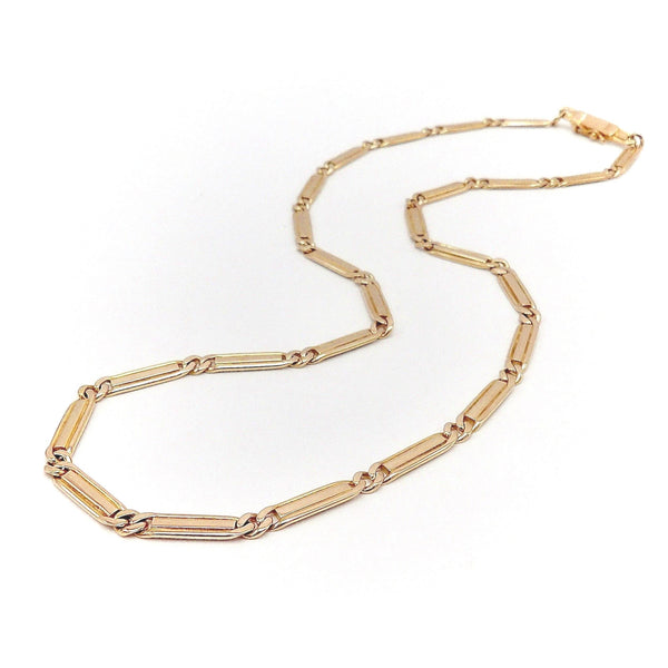 14K Rose Gold Vintage Curb-Link Variation Necklace Necklace Kirsten's Corner Jewelry