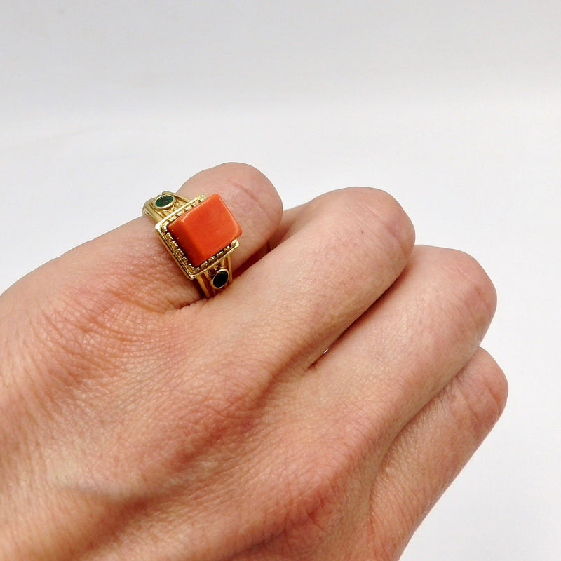 18K Gold Vintage Tiffany's Coral and Emerald Ring Ring Kirsten's Corner