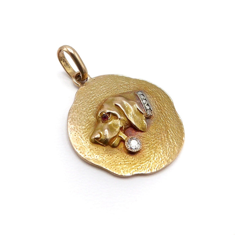 18K Gold Vintage Dog Medallion Tag with Diamonds & Ruby Kirsten's Corner