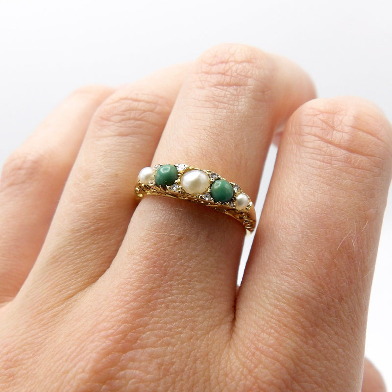 18K Gold Victorian Turquoise, Diamond and Pearl Ring - Kirsten's Corner Jewelry