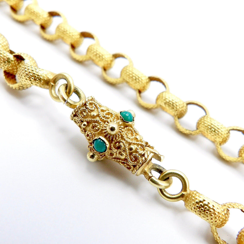 Georgian 18K Gold Beaded Muff Chain with Etruscan Revival Turquoise Clasp Chain Kirsten's Corner Jewelry