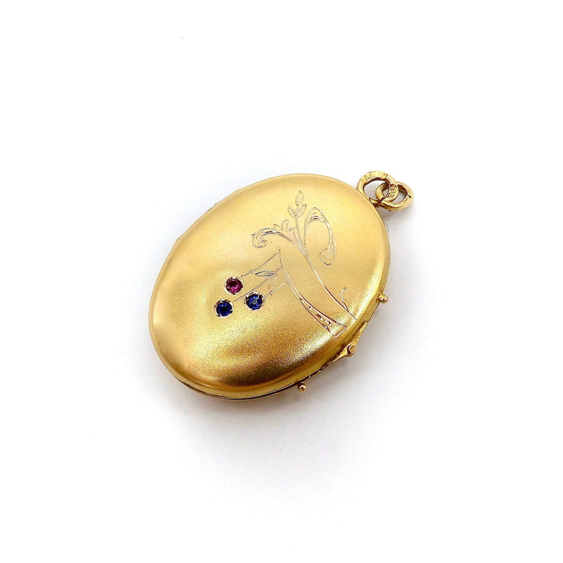 14K Gold Imperial Russian Locket with Rubies & Sapphires locket Kirsten's Corner Jewelry