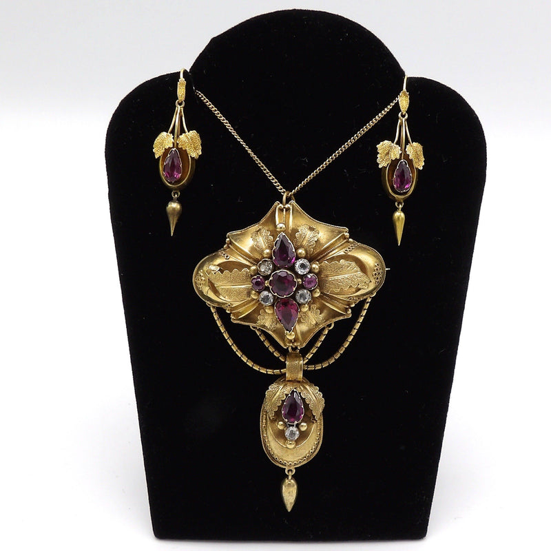 Cannetille 14K Gold Necklace, with Sapphires and Garnets Necklace Kirsten's Corner Jewelry