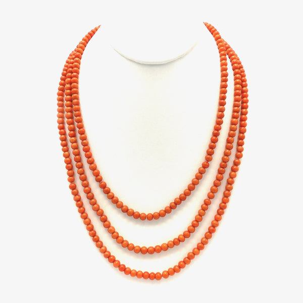 Signature 14K Gold Hook & Victorian Era Coral Bead Necklace Necklace Kirsten's Corner