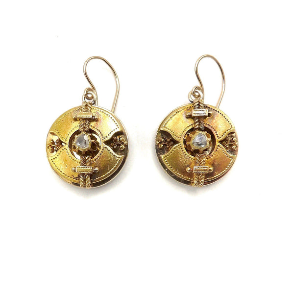 Signature 18K Gold Etruscan Revival Disc Diamond Earrings Earrings Kirsten's Corner