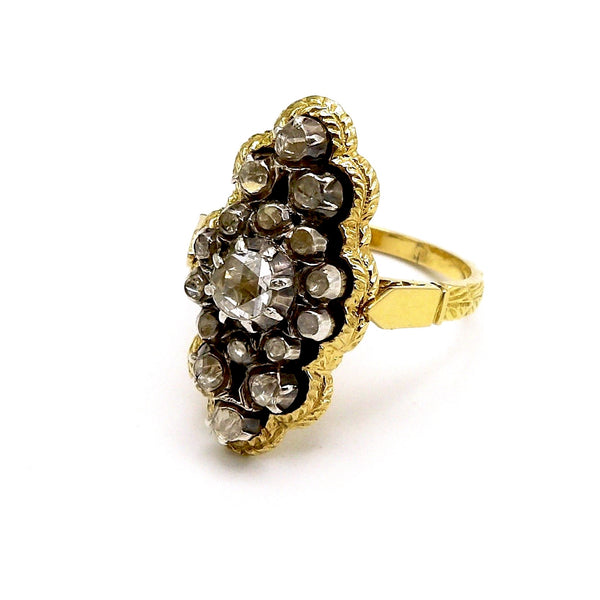 18K Gold Ring with Rivière Diamond Cluster - Kirsten's Corner Jewelry
