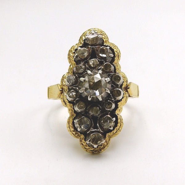 18K Gold Ring with Rivière Diamond Cluster Ring Kirsten's Corner Jewelry
