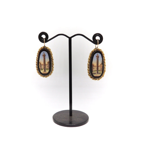 14K Etruscan Revival Micro Mosaic Earrings with Onyx & Tesserae Earrings Kirsten's Corner Jewelry