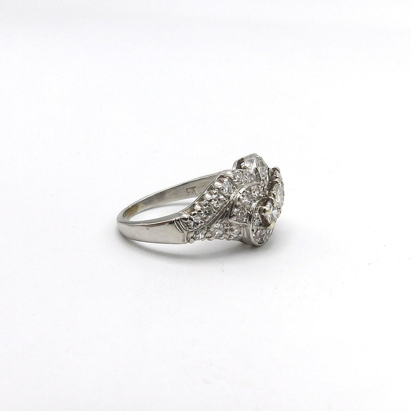 Classic Retro Ribbon Design Diamond Platinum Ring Ring Kirsten's Corner Jewelry