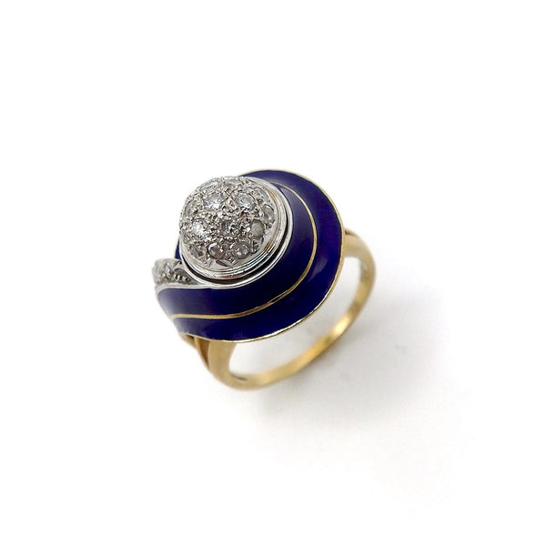 Art Deco 18K White and Yellow Gold, Blue Enamel, and Diamond Ring Ring Kirsten's Corner Jewelry