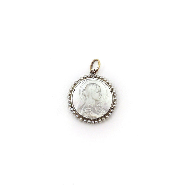 18K Gold & Platinum Mother of Pearl Madonna Medallion Pendant, Charm Kirsten's Corner Jewelry
