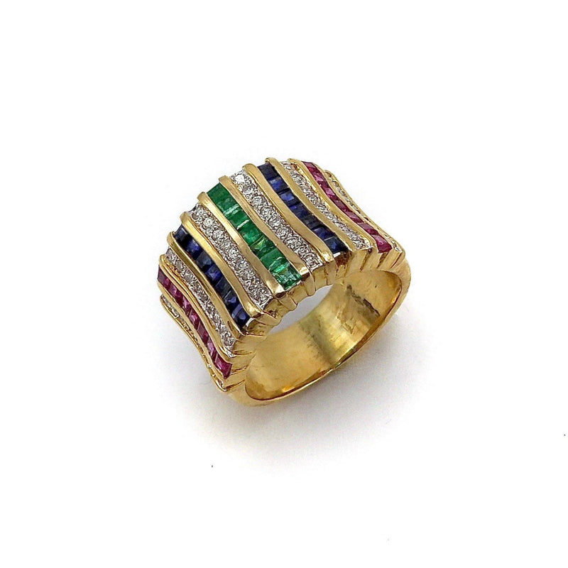 18K Gold Diamond, Ruby, Sapphire, and Emerald Wide Band Ring Kirsten's Corner