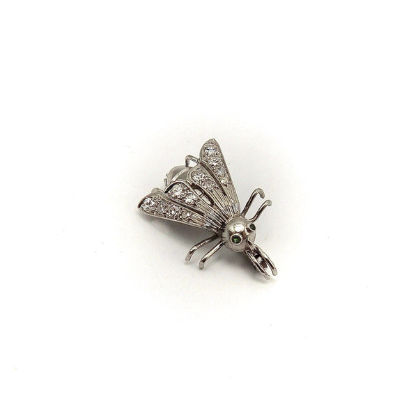 Platinum Art Nouveau Fly Pin w/ Emeralds & Diamonds Brooches, Pins Kirsten's Corner Jewelry