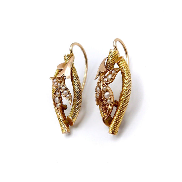 Victorian 14K Gold and Seed Pearl Leaf Shaped Earrings Kirsten's Corner Jewelry