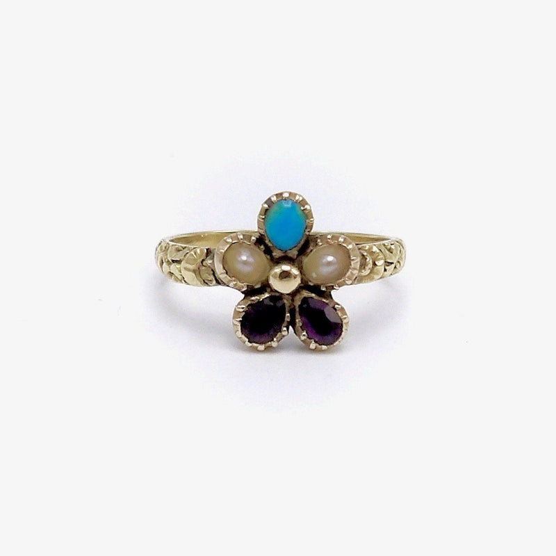 Early 15K Gold Victorian Pansy Ring Ring Kirsten's Corner