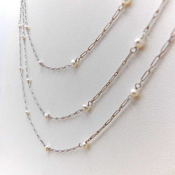 Edwardian Platinum and Pearl Chain Necklace Kirsten's Corner